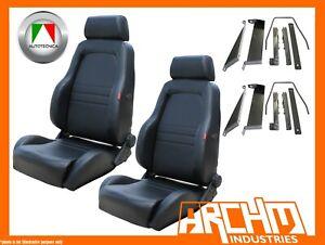 AUTOTECNICA ADVENTURER 4WD 4X4 SEAT PU LEATHER BLACK PATROL Y61 GU ADAPTOR PAIR