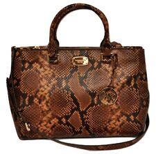 Michael Kors KELLEN Snake Print Leather Medium Satchel Handbag Bag Caramel $458