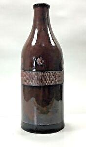 "Large Ceramic Glazed Brown Vase Bottle 13"" Tall  Decor Texture Detail"