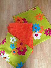 New Bright Orange/ Lime Green Flower Single Fitted & Loose Sheet & Pillowcase