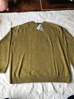 M&S Mens Jumper Uk Size 4XL 100% Lambs wool Mustard BNWT £35 Long Sleeve Warm