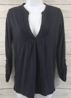 Ann Taylor LOFT Top Sz Small Women Navy Blue Long Sleeve V-Neck Ruffle Knit