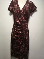 Per Una Red Lined Wrap Style Short Sleeve Floral Sheath Dress - Size 10 (314g)
