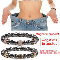 Magnetic Slimming Healthcare Hematite Stone Bead Bracelet Bangle Therapy RV