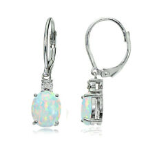 925 Silver Created White Opal & Diamond Accent Oval Dangling Leverback Earrings
