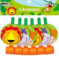 Jungle Party Animal Blow outs Birthday Party Favour Gift Boys Girls Pack of 6
