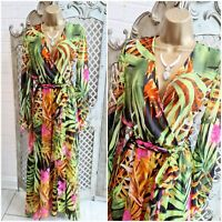 STUNNING UK M Sheer Tropical Print Floaty Chiffon Fit & Flare Summer Maxi Dress
