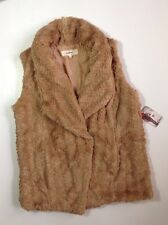 NEW WILDFLOWER Brown Faux Fur Vest Size Small S Dress Jacket Womens Coat $119