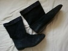 Navy Suede Ankle Boots 5 By Laura Ashley (vintage)