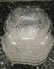 "Lot of 5 Crystal 6 1/4"" Finger/ Fruit/Dessert Bowls with Flowers Daisy ruffled"
