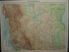1920 LARGE MAP ~ WESTERN CANADA ~ ALBERTA BRITISH COLUMBIA MANITOBA