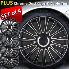 "13"" Black Silver Chrome Centre Car Wheel Trims Hub Covers+ 8 Ties and 4 Dust Cap"