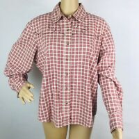 Vintage Roughrider Circle T Womens Western Blouse Top Shirt Large Red Plaid Snap