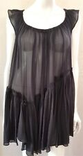 All Saints 100% Silk Black Sheer Floaty Baby Doll Dress 8 Asymmetric Ruffle Bows