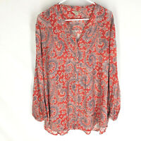 LUCKY BRAND Blouse Top Womens Size 3X Red Floral Boho Festival
