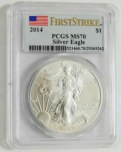 2014 W Silver American Eagle Dollar MS70 PCGS FIRST STRIKE Flag Coin West Point