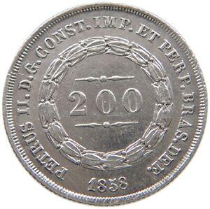 BRAZIL 200 REIS 1858 #t139 265