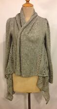 RARE! A'Reve Anthropologie Sweater Gray Lace Knit Open Cardigan Sz SMALL EUC!