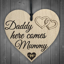 Daddy Here Comes Mummy Bridesmaid Pageboy Wedding Hanging Plaque Bride Gift Sign