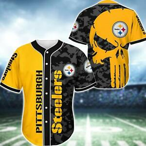 Pittsburgh Steelers Men Baseball Uniforms Summer Button-Down Shirts Casual Tops