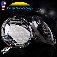Pair 7 Inch LED H4 Headlight 80W Hi/Lo DRL Lamp For Jeep Wrangler JK CJ TJ