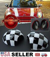 Black White Checker Side View Mirror Cover Cap Tape on For MINI Cooper R55-R61