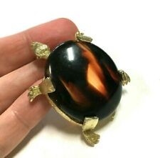 Vintage Brown Tortoise Shell Lucite Turtle Brooch Pin Gold Plated Figural WW11G