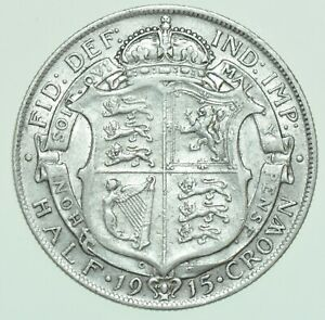 1915 GEORGE V HALFCROWN, BRITISH SILVER COIN GVF