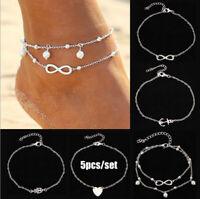 5PCS Set Alloy Pearl Bracelet Women Fashion Anklet Foot Jewelry Accessories