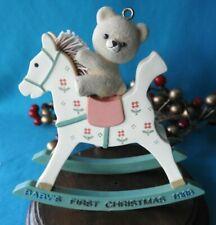 Enesco Ornament Rare 1988 Baby's First 1st Christmas Rocking Horse Bear