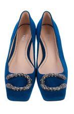 Gucci Women Shoes Dionysus Blue Suede Square Ballet Flats Sz 35 US 5 $840