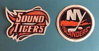 2 Lot Bridgeport Sound Tigers AHL Hockey Jersey Shoulder Patches Crests F