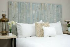 Blue Powderwash Headboard Stain, Hanger Style, Handcrafted. Mounts on Wall.