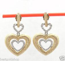 NEW Natural Diamond Triple Heart Dangle Earrings Real 14K Yellow White Gold