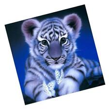 Embroidery 5D Resin Diamond Painting DIY w/ Tools Gift Ornament Tiger Blue