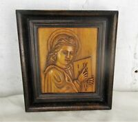 Hand Carved Wood Wall Art Panel Bas Relief Christ Angel Saint Framed Lovely