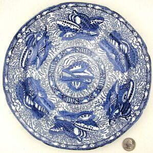 "Mottahedeh TORQUAY Winterthur 10.5"" Dinner Plate Blue Transferware Shells"