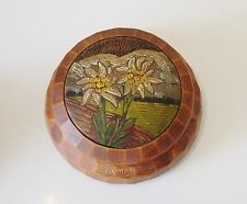 Antique Folk Art Poker Work Box - Hand Painted Still Life Flower Decoration