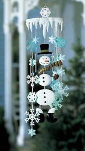 "Snowman Wind Chime Windchime Mobile 34"" Winter Snowflake Sparkles 34"" Long LN"