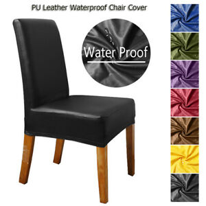 PU Leather Chair Cover Stretch Waterproof Dining Wedding Banquet Party Decor