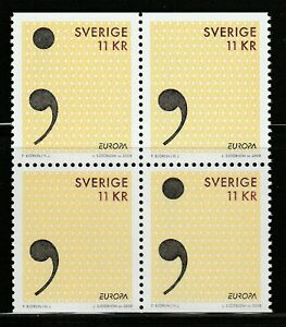 Sweden 2008 Europa CEPT The Letter MNH** Full Set Block of Four A18P8F694