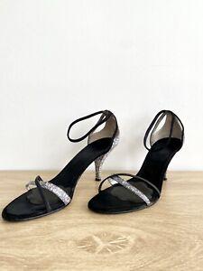 NINE WEST Women's Leather Reptile Print Heel Black Size 8.5 M