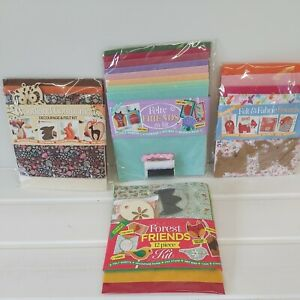 4 x Woodland  felty friends   felt sewing decoupage  kits  from magazine
