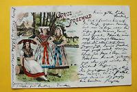 Brandenburg Litho AK gruss aus dem Spreewald 1900 Trachten Gebäude Kleidung +++