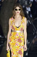 DOLCE & GABBANA S/S 2004 Runway Paisley Floral Silk Yellow Dress Sz IT 42 US 6