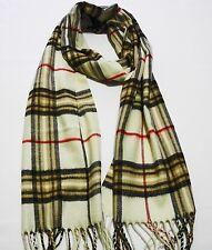 100% cashmere super soft unisex scarf neck warmer plaid design color off white