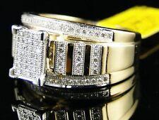 10k Oro Amarillo Diamante Novia Compromiso Pavé XL Anillo