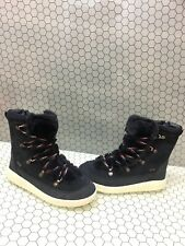 Pajar Navy Leather Waterproof Insulated Lace Up/Zip Snow Boots Womens Size 9/9.5