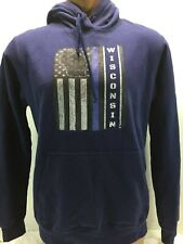 Wisconsin Thin Blue Line Hoodie Sweatshirt SZ M Medium police flag badger navy