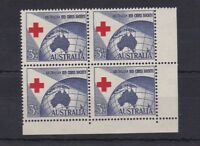 APD76) Australia 1954 Red Cross Misplaced bottom right corner block of 4